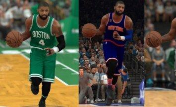 Kyrie Irvingas skirtingose NBA komandose (NBA 2K stopkadras)