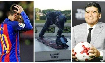Lionelis Messi, suniokota statula, Diego Maradona (AP-Scanpix, AFP-Scanpix, Twitter nuotr.)