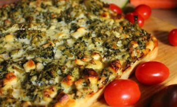"""<span style=""""color: #ff0000;"""">Savaitgalio pietums:</span> brokolių ir bulvių pyragas su fetos sūriu"""