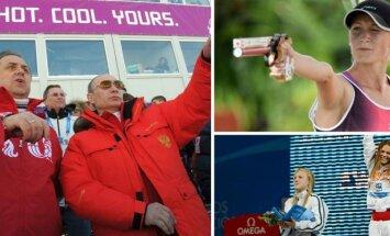 Vitalijus Mutko, Vladimiras Putinas, Donata Rimšaitė, Rūta Meilutytė ir Julija Jefimova (Vida Press, AP/Scanpx ir DELFI nuotr.)