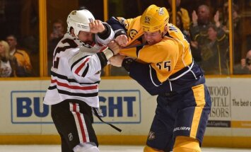"NHL Čikagos ""Blackhawks"" ir ""Nashville Predators"" mačo akimirka"