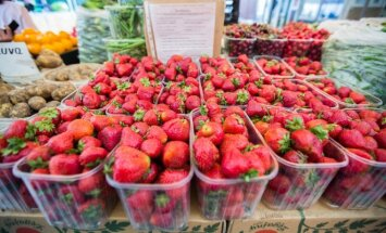 Strawberries on sale in a market