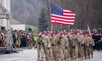 USA troops marching in the Cathedral Sq in Vilnius during the Army day