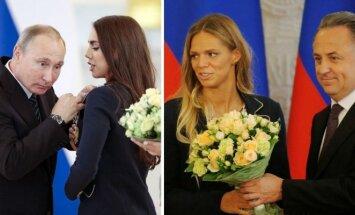 Vladimiras Putinas, Margarita Mamun, Julija Jefimova ir Vitalijus Mutko (AP/Reuters/Scanpix nuotr.)
