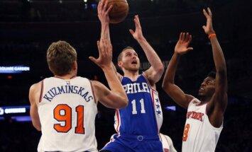 "NBA, ""Knicks"" - ""76ers"" rungtynių akimirka"