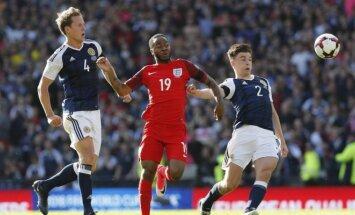 Škotijos ir Anglijos rinktinių mačo akimirka