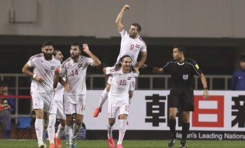 Sirijos futbolininkai džiaugiasi pergale