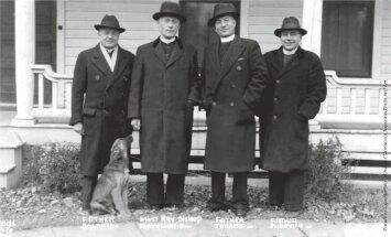 Teofilius Matulionis JAV, 1936. Šuo prie vyskupo kojų