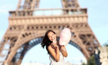 Paryžius, cukraus vata, mergina