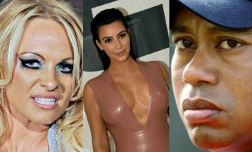 Pamela Anderson, Kim Kardashian ir Tigeris Woodsas