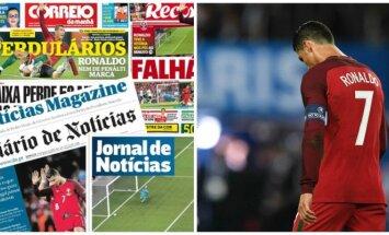 Portugalijos spauda plaka Cristiano Ronaldo DELFI montažas (Sport.es, AFP-Scanpix nuotr.)