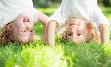 vaikai, žaidimas, galva, vasara, pieva, dvyniai, berniukas, atostogos, laisvalaikis, brolis, vaikas