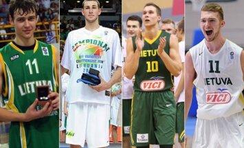 Donatas Motiejūnas, Jonas Valančiūnas, Tadas Sedekerskis ir Domantas Sabonis (FIBA nuotr.)