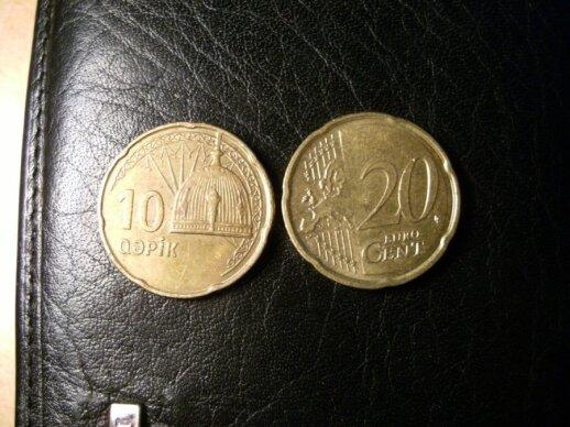 Euro centai ir Azerbaidžano giapikai