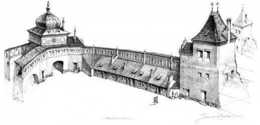 Pilies vaizdo rekonstrukcija pagal M. Volkavą (Pavelo Tatarnikavo piešinys)