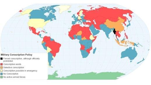 Šauktinių politika pasaulyje, ChartsBin statistics collector team 2011 m. iliustracija