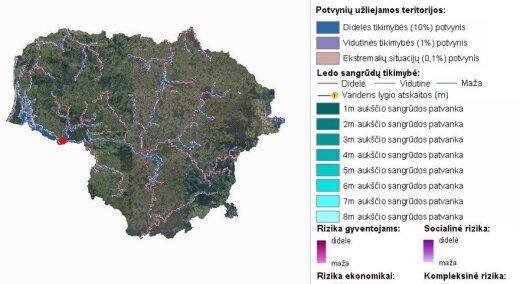 Potvynių grėsmių žemėlapis