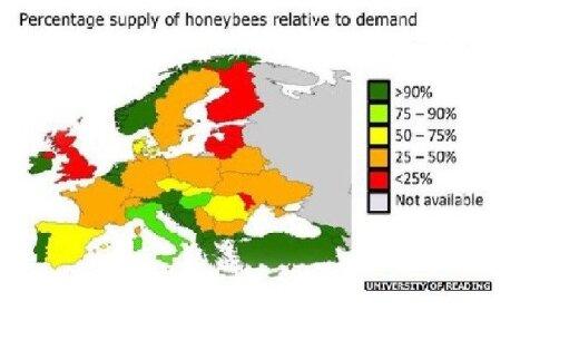 Bičių skaičiaus sumažėjimas Europoje/ University of reading žemėlapis