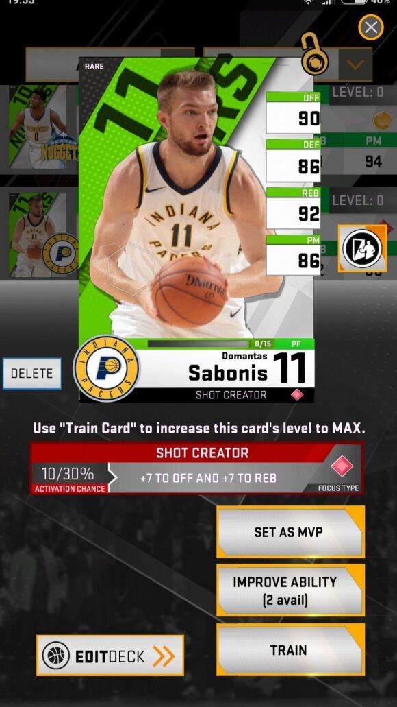 Domantas Sabonis NBA žaidime