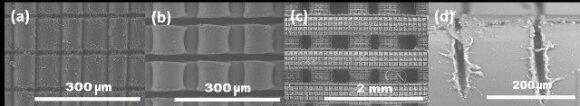 4 pav. Lazeriu mikrostruktūrizuotas 3D spausdintuvu iš PLA pagamintas darinys: (a, b) – plokščias banguotas paviršius, (c, d) – trimatis rąstų rietuvės darinys.