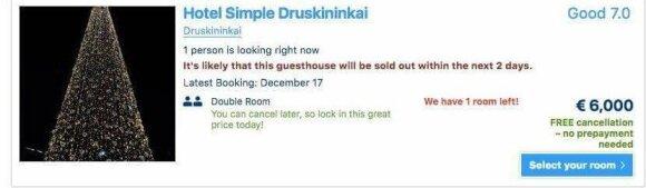 В FB рассказывают о баснословных ценах на гостиницы в новогоднюю ночь