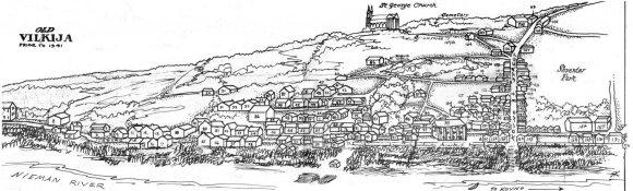 Vilkijos žydų gyvenamieji namai iki 1941 m.Cvi Jeglino sudarytas planas ir piešinys