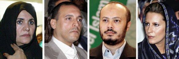 M.Gaddafi žmona Safiya, sūnūs Hannibalas ir Mohammedas, dukra Aisha