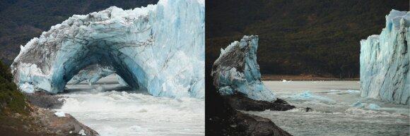 Perito Moreno ledyne Argentinoje pasikartojo įspūdingas gamtos reiškinys