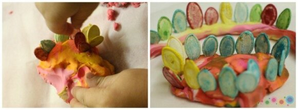 Kūrybinis darbelis su vaikais: spalvingos moliūgų sėklos