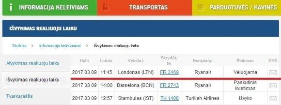 Keleivis: vėlavo skrydis iš Vilniaus į Londoną