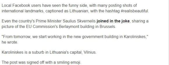 BBC cituoja Saulių Skvernelį