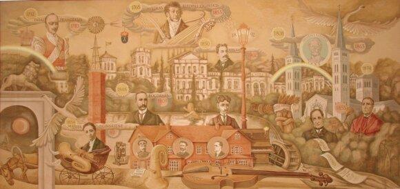 """Freska """"Kunigaikščiai Oginskiai ir jų darbai Rietave""""."""