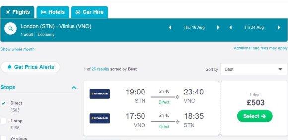 Net pigių skrydžių bendrovės bilietus dabar parduoda už kosmines sumas (2018 m. rugpjūčio 1 d. atliktos paieškos rezultatai).