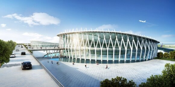 Lietuvio sukurta oro uosto Š. Korėjoje koncepcija (K. Kazlausko iliustr.)