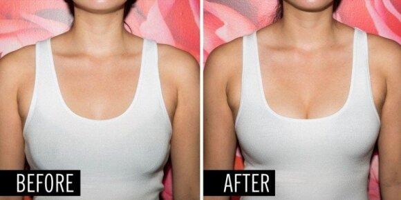 Moterų gudrybės: ar gali patikėti, kad tai - tos pačios merginos krūtinė?