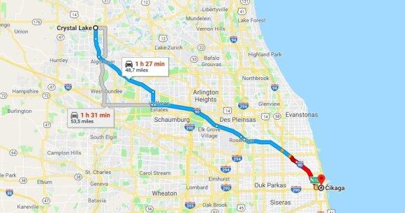 Atstumas nuo Crystal Lake iki Čikagos