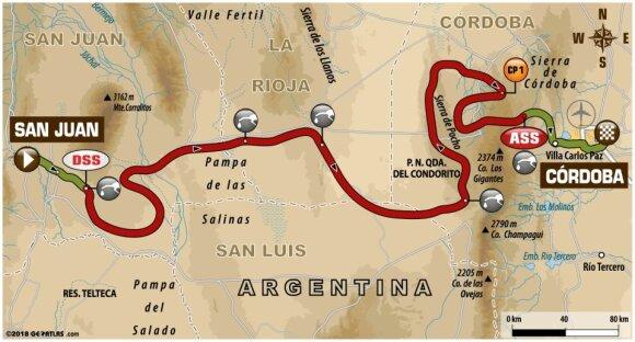 Tryliktojo Dakaro ralio etapo maršrutas