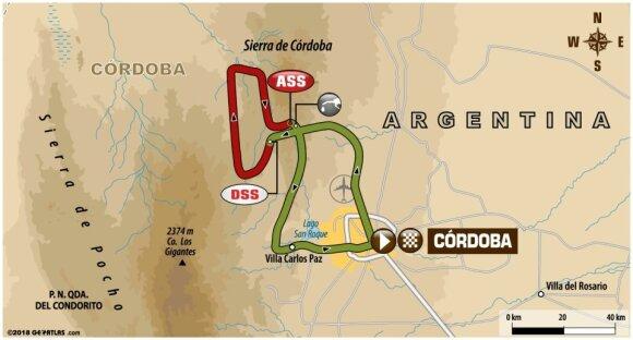 Keturioliktojo Dakaro ralio etapo maršrutas