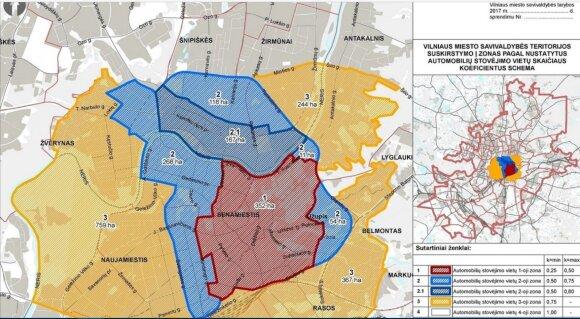 Vilniaus suskirstymo zonomis schema