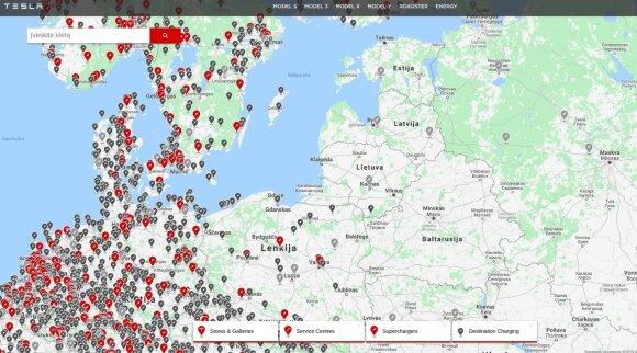 """""""Supercharger"""" įkrovos stotelių žemėlapis"""