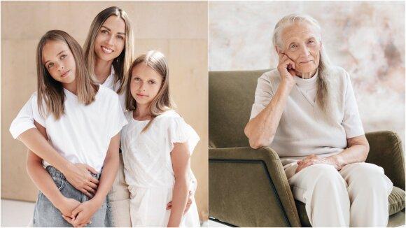 Ermita Kirdeikytė kartu su dukrelėmis ir močiute