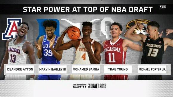 Stopkadras iš tiesioginės NBA naujokų biržos transliacijos