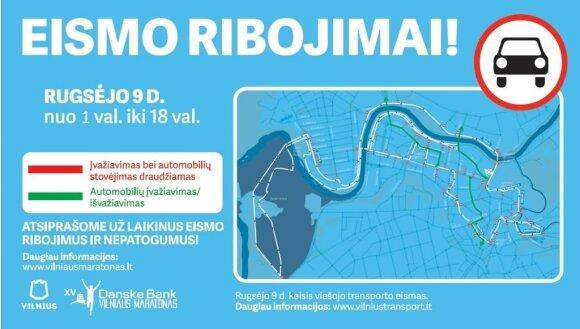 "Eismo ribojimai bei pakeitimai ""Danske Bank Vilniaus maratono"" metu"