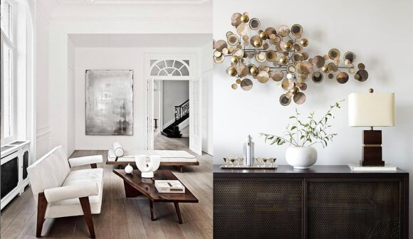 Pierre Jeaneret sofa, George Nakashima kavos staliukas. Interjerą Briuselyje kūrė Olivier Dwek.
