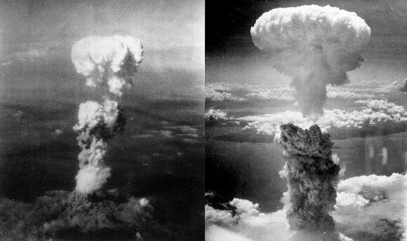 """Atominiai """"grybai"""" virs Hirosimos ir Nagasakio miestų"""