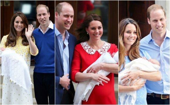 Kate Middleton ir princas Williamas iškart po gimdymų