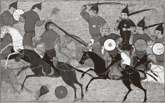 Mongolų kariai persekioja priešus