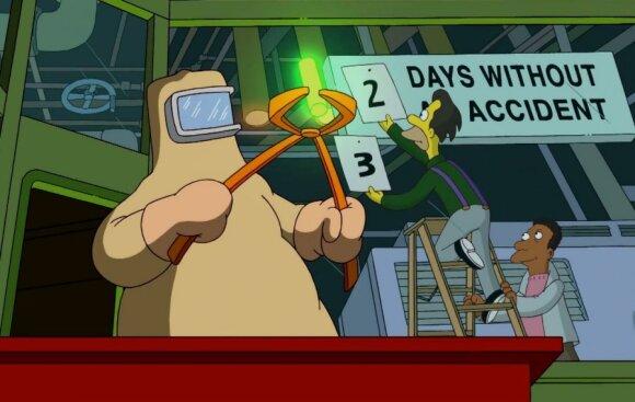 """Radioaktyvus elementas (Stopkadras iš animacinio serialo """"Simpsonai"""")"""
