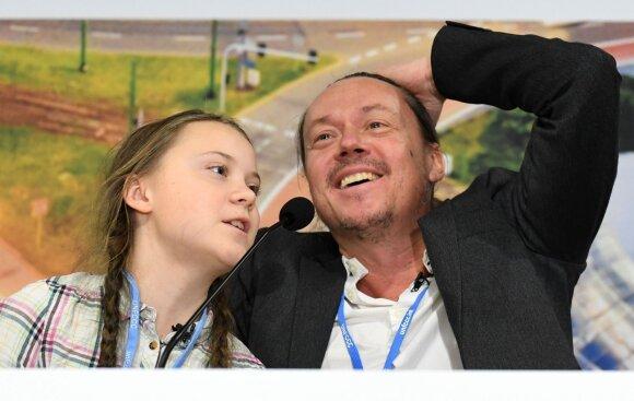 Greta Thunberg ir jos tėvas