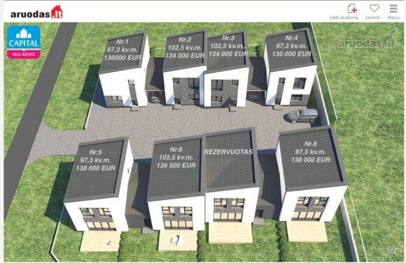 Aštuonis vienbučiai namai vieno namo sklype